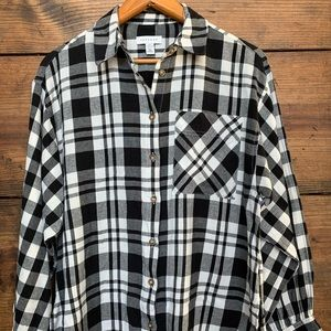 Topshop Black and White Plaid Flannel